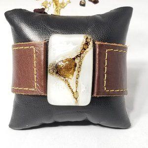 Brown Leather White Brown Gold Slab Cuff Bracelet